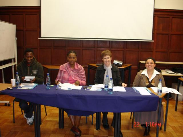 The panelists: From left to right: Thobani Ncapai, Nieliswa Nkwaw, Susan Wishart and the chair Celeste Coetzee